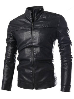 Stand Collar PU-Leather Zip-Up Jacket