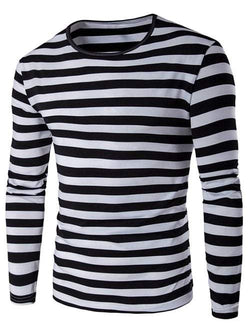 Contrast Color Striped Long Sleeve T-Shirt