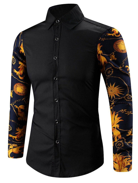 Abstract Floral Print Spliced Turn-Down Collar Shirt