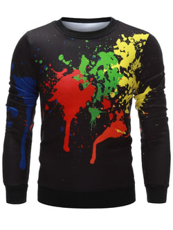 Crew Neck Paint Splatter Printing Sweatshirt