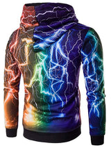 Colorful Lightning Print Hoodie
