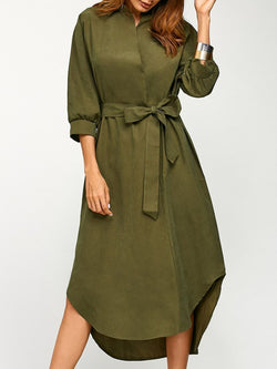 Asymmetric Casual Wrap Midi Dress with Belt
