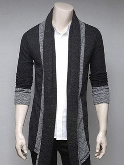 Turndown Collar Splicing Cardigan