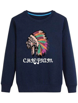 Crew Neck Indian Graphic Sweatshirt