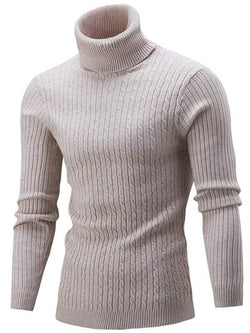 Roll Neck Cable Knitted Slim Fit Sweater