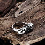Alloy Double Skull Cuff Ring