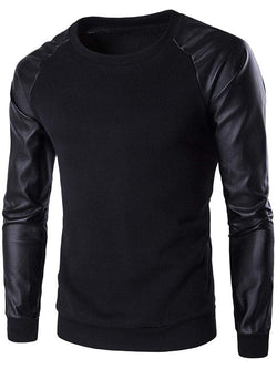 Crew Neck PU Leather Splicing Sleeve Sweatshirt