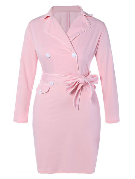 Double Breasted Lapel Plus Size Belted Dress