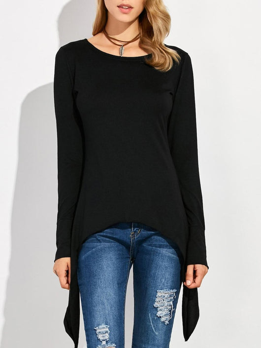 Asymmetric Long Sleeve Scoop Neck T-Shirt