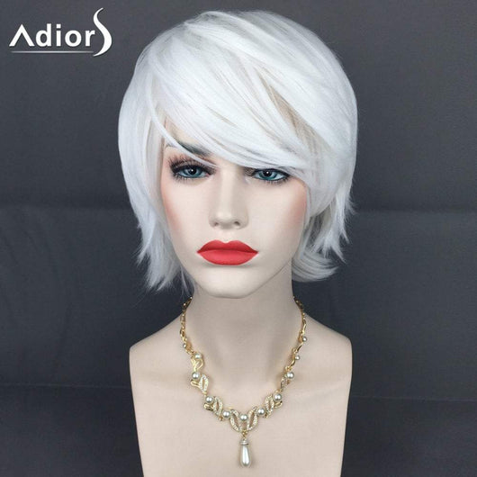 Adiors Short Inclined Bang Straight Layered Synthetic Wig