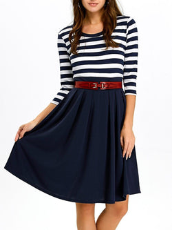A Line Stripe Casual Dress Fall