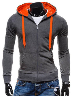 Drawstring Pocket Front Zip Up Hoodie