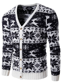 Snowflake Deer V Neck Christmas Cardigan