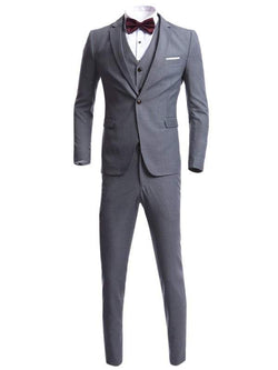 Lapel Single Breasted Waistcoat Three Piece Suit