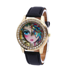 Women Quartz Watch Rhinestone Exquisite Pattern Leather Band Bangle Fashion Wristwatch