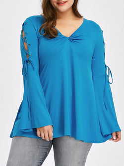 Flare Sleeve Plus Size Lace Up T-Shirt