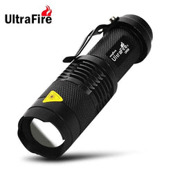 Ultrafire UK - 68 Cree Q5 300Lm 3 Modes Waterproof LED Flashlight Torch with Adjustable Focus