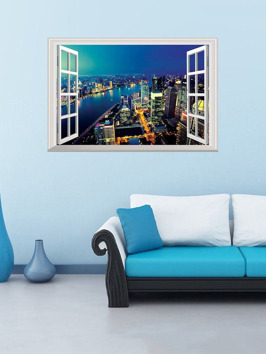 3D Night City Fake Window Wall Sticker