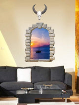 3D Faux Window Scenery Wall Sticker For Living Room