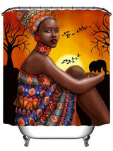 African Tribal Girl Print Mould Proof Shower Curtain