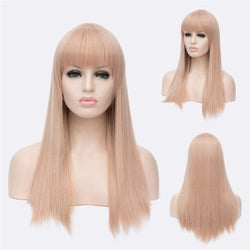 Impressive Women's Long Offwhite Straight Full Bang Synthetic Wig