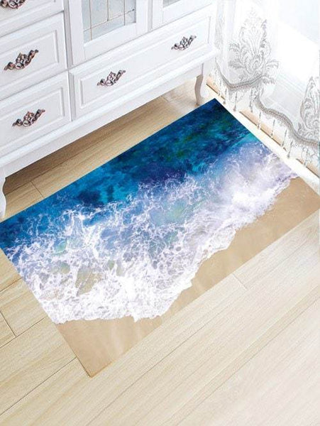 Sea Tide Print Antiskid Flannel Bathroom Rug