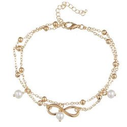 Fake Pearl Beads 8 Shape Double Layered Anklet