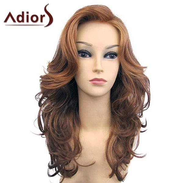 Adiors Long Shaggy Wavy Side Part Synthetic Wig