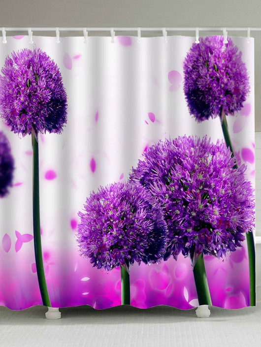 Bathroom Fabric Alliums Flower Shower Curtain