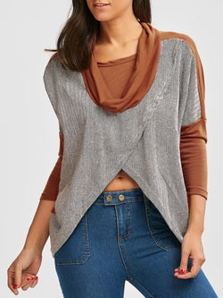 Batwing Sleeve Paneled Cowl Neck Top