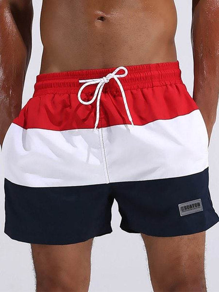 Color Block Drawstring Board Shorts