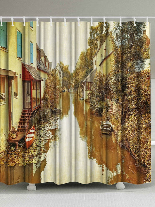 Bath Decoration Scenic Town Fabric Shower Curtain