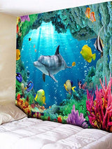 3D Sea World Printed Rectangle Wall Hanging Tapestry