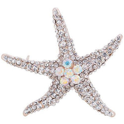Rhinestone Inlaid Alloy Starfish Broosh Pin