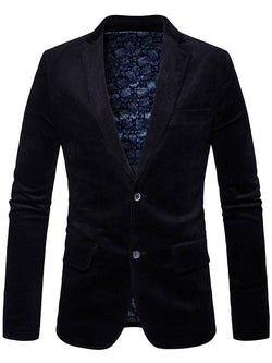 Lapel Collar Elbow Patch Corduroy Blazer