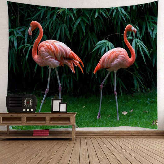 Bamboo Leaf Flamingo Wall Tapestry