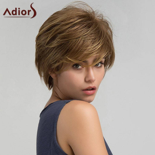 Adiors Short Layered Shaggy Inclined Bang Straight Synthetic Wig