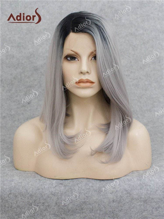 Adiors Medium Colormix Side Bang Straight Bob Lace Front Synthetic Wig