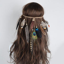 Bohemian Peacock Feather Headwear