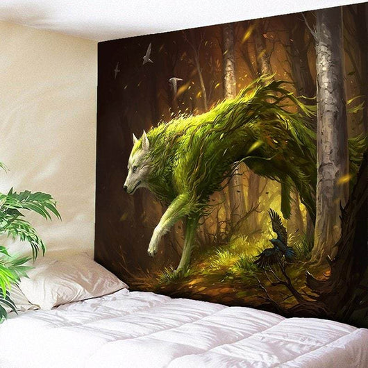 Animal Wall Hanging Forest Wolf Printed Tapestry