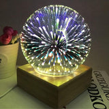 Ball Shape Colorful 3D Fireworks USB Table Lamp