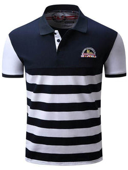 Embroidered Stripe Polo T-shirt