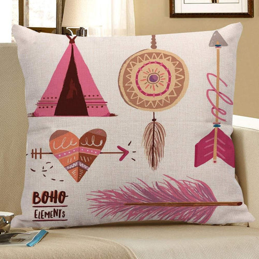 Arrow Heart Feather Dreamcatcher Print Bohemian Pillow Case