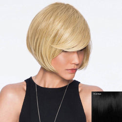 Inclined Bang Straight Short Bob Human Hair Wig