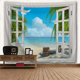 Beach Sea Window Print Tapestry Wall Hanging Art
