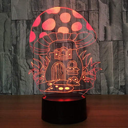 Cartoon Mushroom House Design Colors Change Touch Night Light