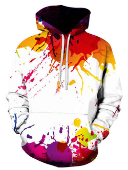 Colorful Splatter Paint Print Pullover Hoodie