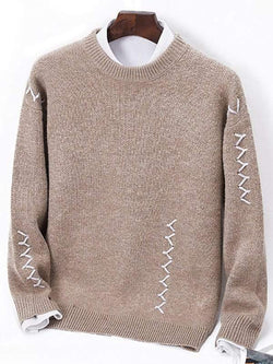 Sennit Design Pullover Crew Neck Sweater