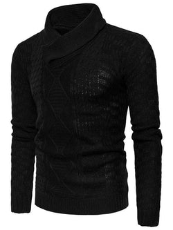 Shawl Collar Pullover Ribbed Sweater