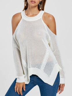 Cold Shoulder Open Knit Tunic Sweater